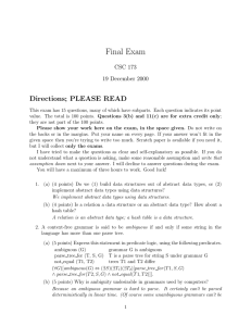 Final Exam Directions; PLEASE READ CSC 173 19 December 2000