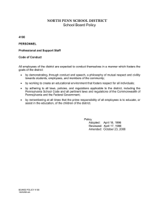 NORTH PENN SCHOOL DISTRICT School Board Policy