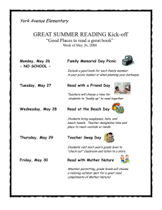 "GREAT SUMMER READING Kick-off ""Good Places to read a great book"""
