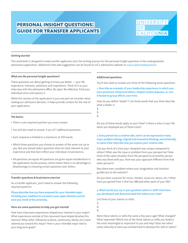 Personal Insight Questions Guide For Transfer Applicants Getting Started This Worksheet Is Designed To Help Start The Writing Process