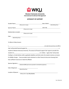 Western Kentucky University AFFIDAVIT OF SUPPORT International Enrollment Management