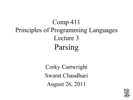 Parsing Comp 411 Principles of Programming Languages Lecture 3