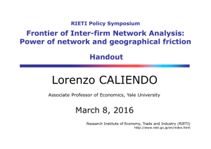 Lorenzo CALIENDO March 8, 2016 Frontier of Inter-firm Network Analysis: