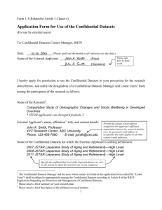 Application Form for Use of the Confidential Datasets