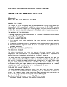 THE ROLE OF PPECB IN EXPORT AVOCADOS