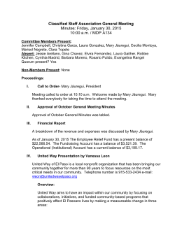 Classified Staff Association General Meeting Minutes: Friday, January 30, 2015