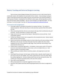 Mastery Teaching and Universal Design in Learning