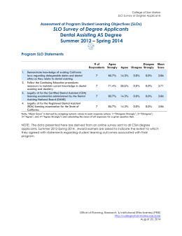 SLO Survey of Degree Applicants Dental Assisting AS Degree