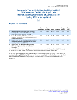 SLO Survey of Certificate Applicants Dental Assisting Certificate of Achievement