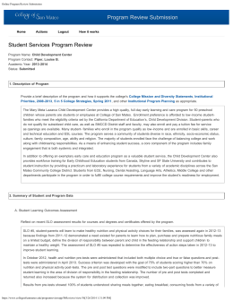 Program Review Submission Student Services Program Review