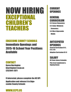 NOW HIRING EXCEPTIONAL CHILDREN'S TEACHERS