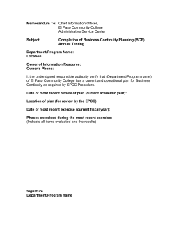 Memorandum To:  Subject: Completion of Business Continuity Planning (BCP)