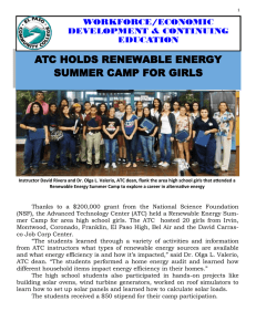 ATC HOLDS RENEWABLE ENERGY SUMMER CAMP FOR GIRLS