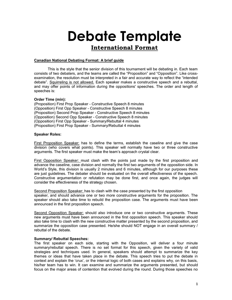 Team debate format for First speaker debate template