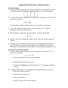 ( ) Applications of Derivatives Assignment Part 1