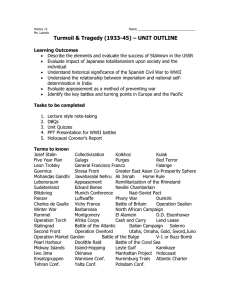 Turmoil & Tragedy (1933-45) – UNIT OUTLINE