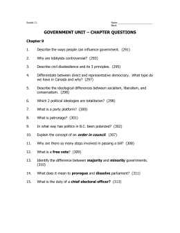 GOVERNMENT UNIT – CHAPTER QUESTIONS