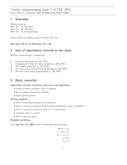 Linear programming (part 5 of CSC 282), 1 Schedule