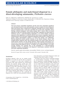 Female philopatry and male-biased dispersal in a direct-developing salamander, Plethodon cinereus