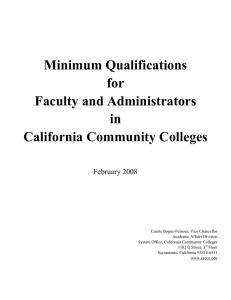 Minimum Qualifications for Faculty and Administrators