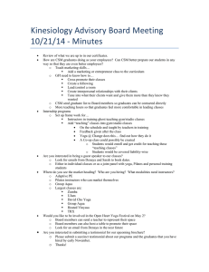 Kinesiology Advisory Board Meeting   10/21/14 ‐ Minutes