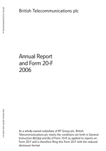 Annual Report and Form 20-F 2006 British Telecommunications plc