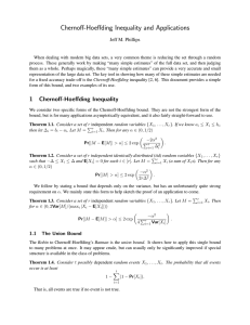 Chernoff-Hoeffding Inequality and Applications Jeff M. Phillips
