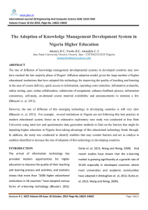The Adoption of Knowledge Management Development System in Nigeria Higher Education