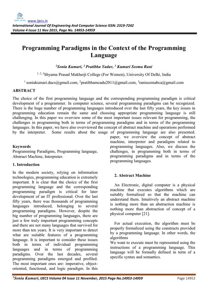 Programming Paradigms In The Context Of The Programming