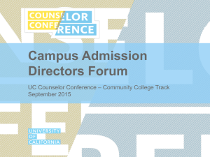 Campus Admission Directors Forum – Community College Track UC Counselor Conference