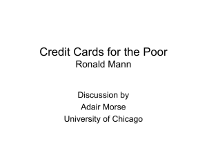Credit Cards for the Poor Ronald Mann Discussion by Adair Morse