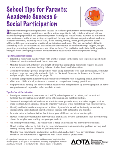 School Tips for Parents: Academic Success & Social Participation O