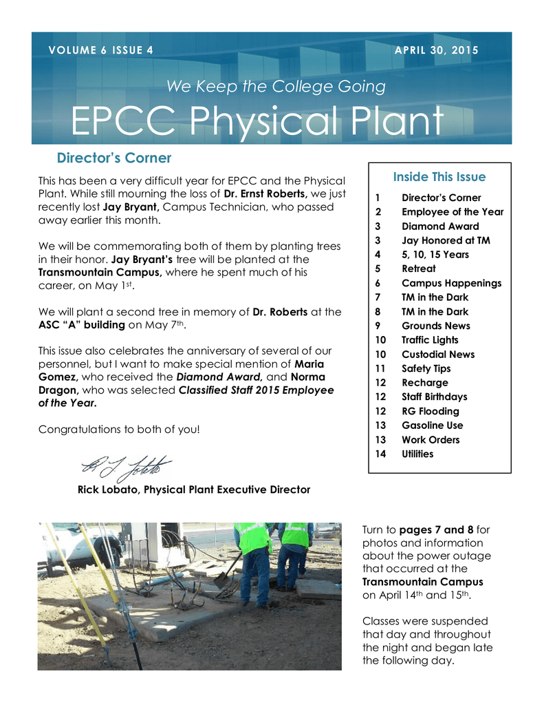 Epcc Physical Plant We Keep The College Going Director S Corner
