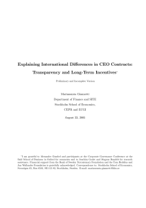 Explaining International Differences in CEO Contracts: Transparency and Long-Term Incentives