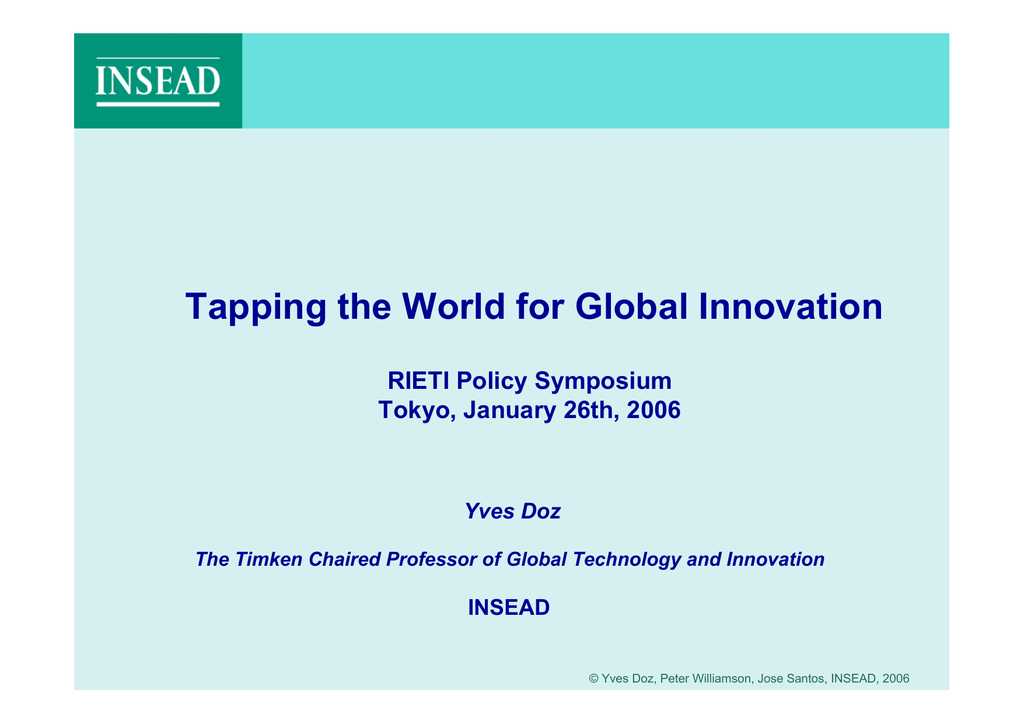 Tapping the World for Global Innovation RIETI Policy