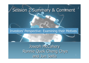 Session 2 Summary & Comment Joseph McCahery Ronnie Quek Cheng Chye