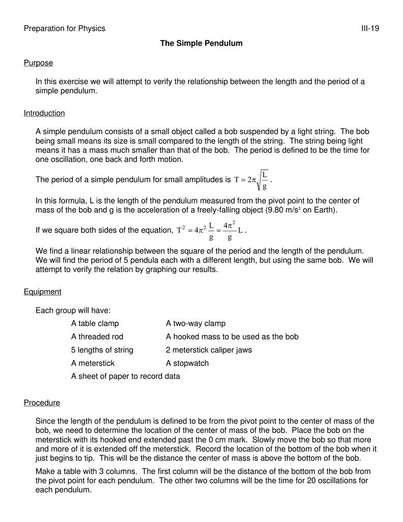 Preparation for Physics III-19 Purpose
