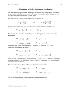 1-D Equations of Motion for Constant Acceleration