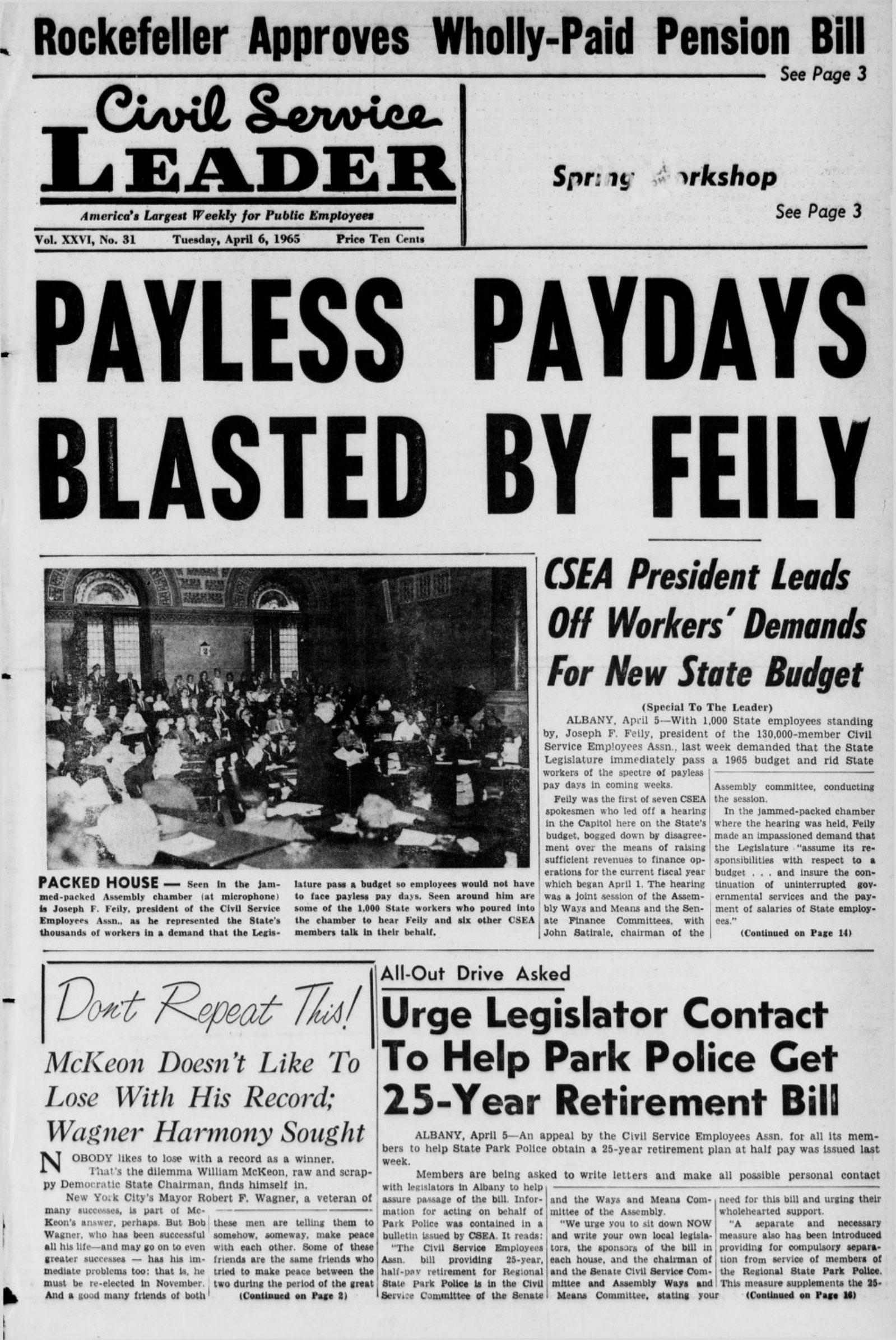 PAYLESS PAYDAYS BLASTED BY FEILY Rockefeller Approves