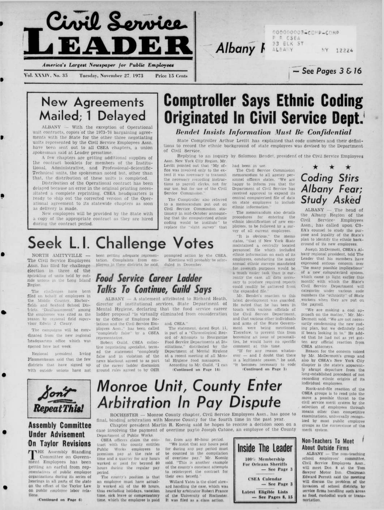 New york albany county albany 12226 - Comptroller Says Ethnic Coding Originated In Civil Service Dept Albany F