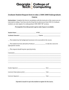 Graduate Student Request form to take a 1000-2000 Undergraduate Course
