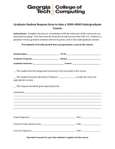 Graduate Student Request form to take a 3000-4000 Undergraduate Course