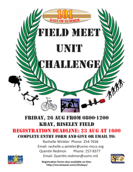 FIELD MEET UNIT CHALLENGE FRIDAY, 26 AUG FROM 0800-1200