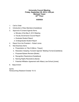 University Council Meeting Friday, September 26, 2014, 2:00 pm Mohawk Tower 22