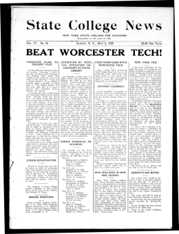S t a t e College  N e w... BEAT WORCESTER TECH! IV. No. 26 $2.00 PER YEAR