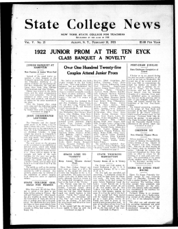 State College News 1922 JUNIOR PROM AT THE TEN EYCK