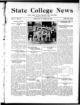 State College News V. No. 19 ~ ~ N. Y., 10, 1921 $3.00