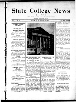 State College News (Summer Edition) I. No. 6 ALBANY, N. Y., AUGUSTS, 1921