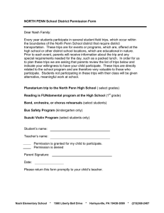 NORTH PENN School District Permission Form  Dear Nash Family: