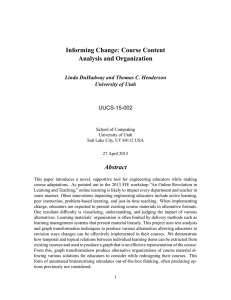 Informing Change: Course Content Analysis and Organization Abstract